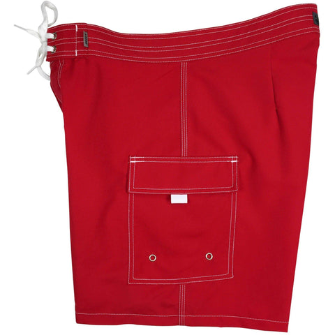 """A Solid Color"" Mens Board Shorts w/ Dual Cargo Pockets.  17.5"" Outseam / 5"" Inseam (Red, Apple, Aqua, Hot Pink or Turquoise - Board Shorts World - 1"