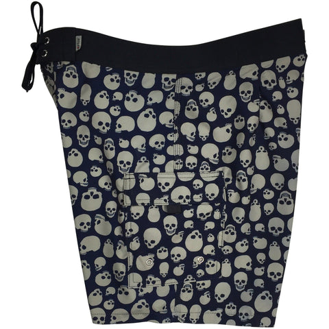 """Live to Ride"" Skulls Print Mens Board Shorts w/ Dual Cargo Pockets.  17.5"" Outseam / 5"" Inseam (Charcoal, White or Red) - Board Shorts World - 1"