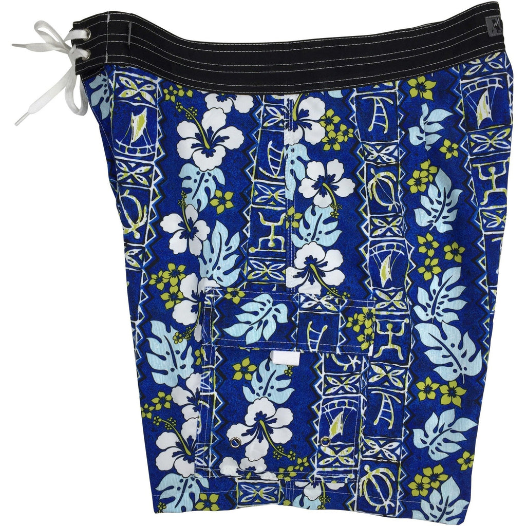 """Tortugas"" Mens Board Shorts w/ Dual Cargo Pockets.  17.5"" Outseam / 5"" Inseam (Blue or Charcoal) - Board Shorts World - 1"