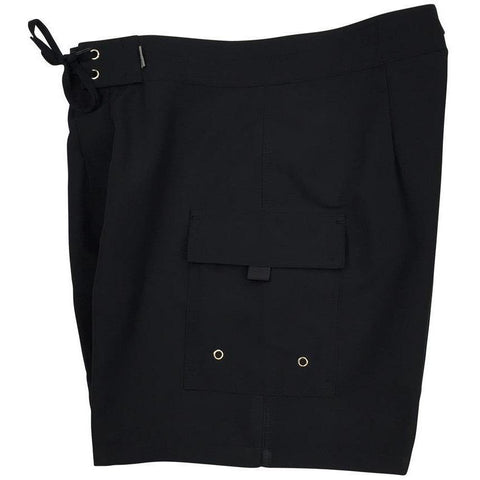 """A Solid Color"" Mens Board Shorts w/ Dual Cargo Pockets.  17.5"" Outseam / 5"" Inseam (Black+Black Stitching)"