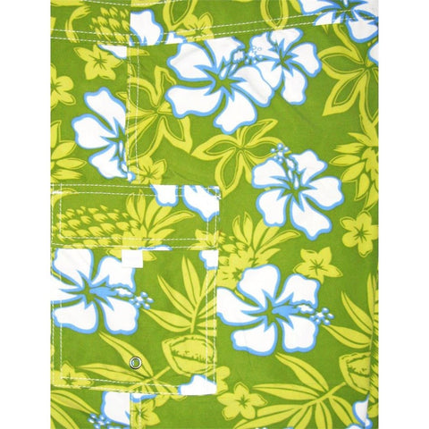 """North Shore"" Womens Elastic Waist Swim Board Shorts.  HIGH Rise + 11"" Inseam (Key Lime) - Board Shorts World"