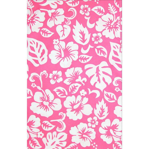 """Pure Hibiscus Too"" Womens Elastic Waist Swim Board Shorts.  HIGH Rise + 11"" Inseam (Pink) **SALE**"
