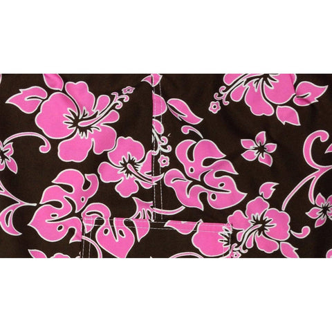 """Pure Hibiscus"" Print Board Shorts for Little Boys + Girls (Brown + Pink) - Board Shorts World"