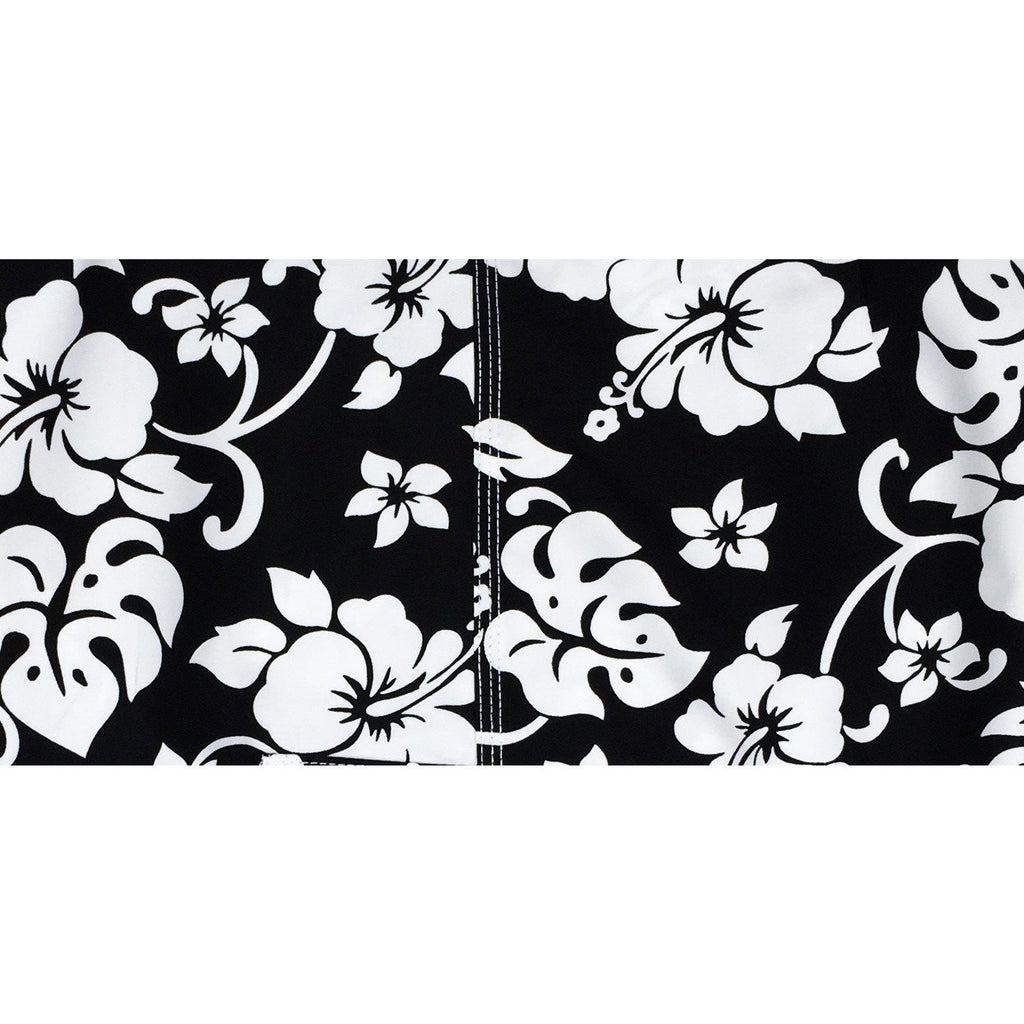 """Pure Hibiscus""  Womens Board (Swim) Capris - NON Elastic Waist  + Regular Rise + 23"" Inseam (Black+White) *SALE*"