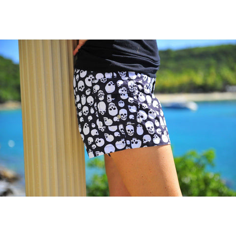 """Live to Ride"" Skulls Print Womens Board Shorts - Lower Rise / 4"" Inseam (Black+White, Black+Charcoal, or Black+Red) - Board Shorts World - 1"