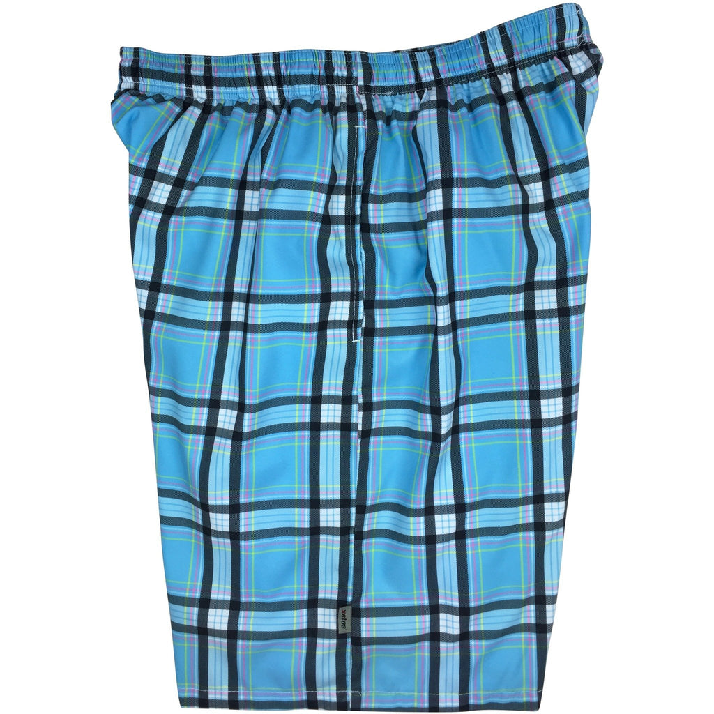 """Casual Friday"" Plaid Mens Swim Trunks (with mesh liner) - 22"" Outseam / 9.5"" Inseam (Blue)"