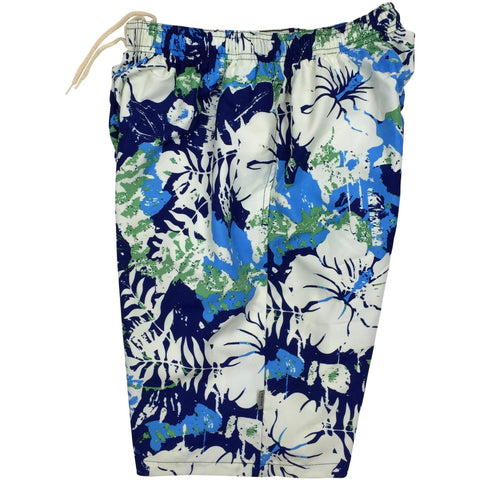 """Hiatus"" Mens Swim Trunks (with mesh liner) - 22"" Outseam / 9.5"" Inseam (Blue) - Board Shorts World"