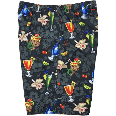 "'Hurry Sundown"" Cocktail Print Mens Swim Trunks (with mesh liner) - 22"" Outseam / 9.5"" Inseam (Black)"