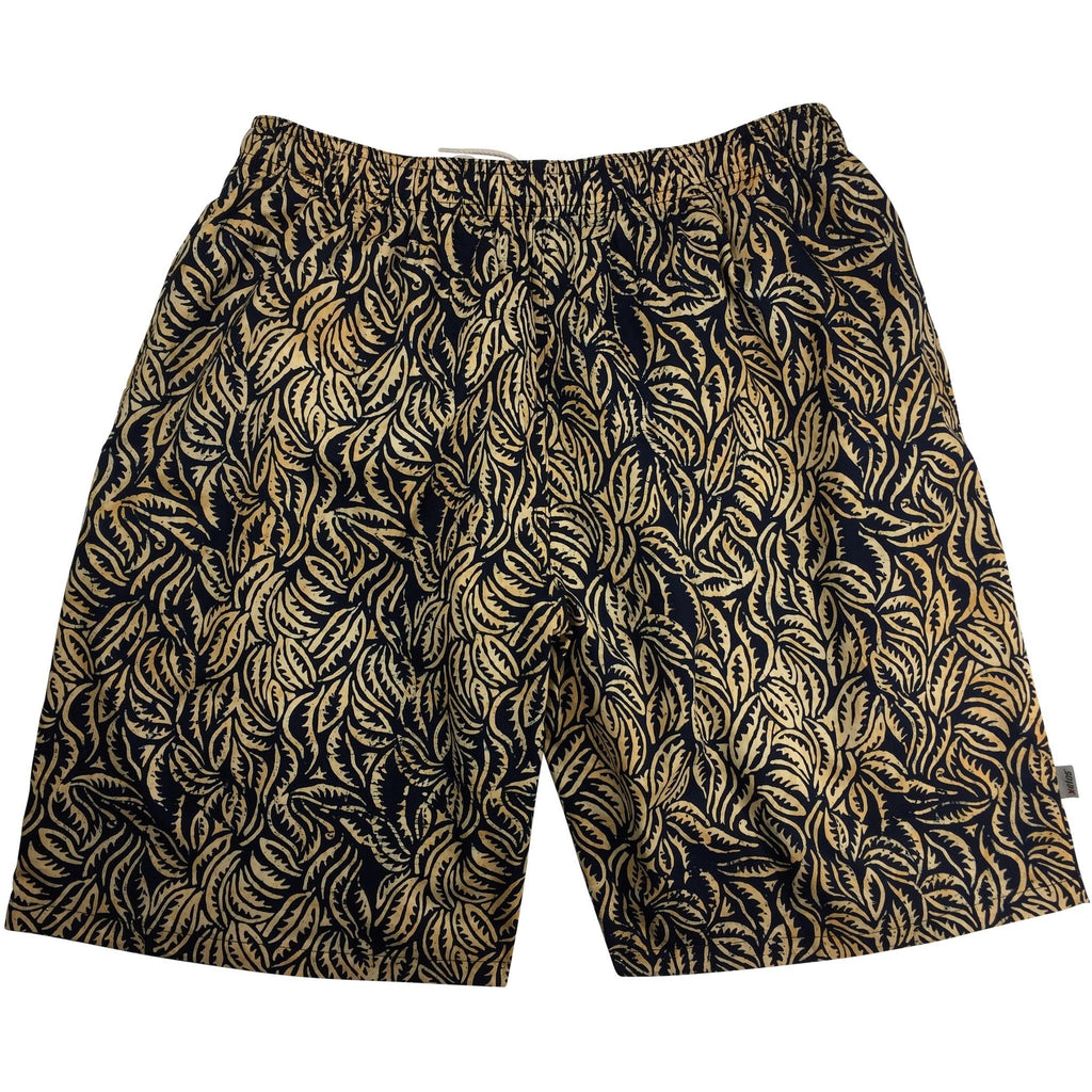 "100% Cotton Batik ""Hyperleaf"" Mens Swim Trunks (with mesh liner) - 22"" Outseam / 9.5"" Inseam"