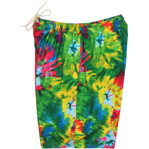 """Love N Haight"" Tie Dye Mens Elastic Waist Swim Trunks w/ on-seam Pockets (Select Custom Outseam 22"" - 27"")"