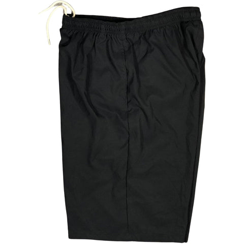 "Solid BLACK (black stitching) Mens Elastic Waist Swim Trunks w/ on-seam Pockets (Select Custom Outseam 22"" - 27"") - Board Shorts World"