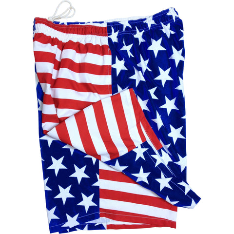 """Stars N Stripes"" Side Pockets Elastic Waist Board Shorts (Select Custom Outseam 22"" - 27"") - Board Shorts World"