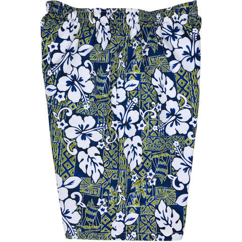 "**NEW** ""Tiki Village"" Mens Swim Trunks (with mesh liner) - 22"" Outseam / 9.5"" Inseam (Navy) - Board Shorts World"