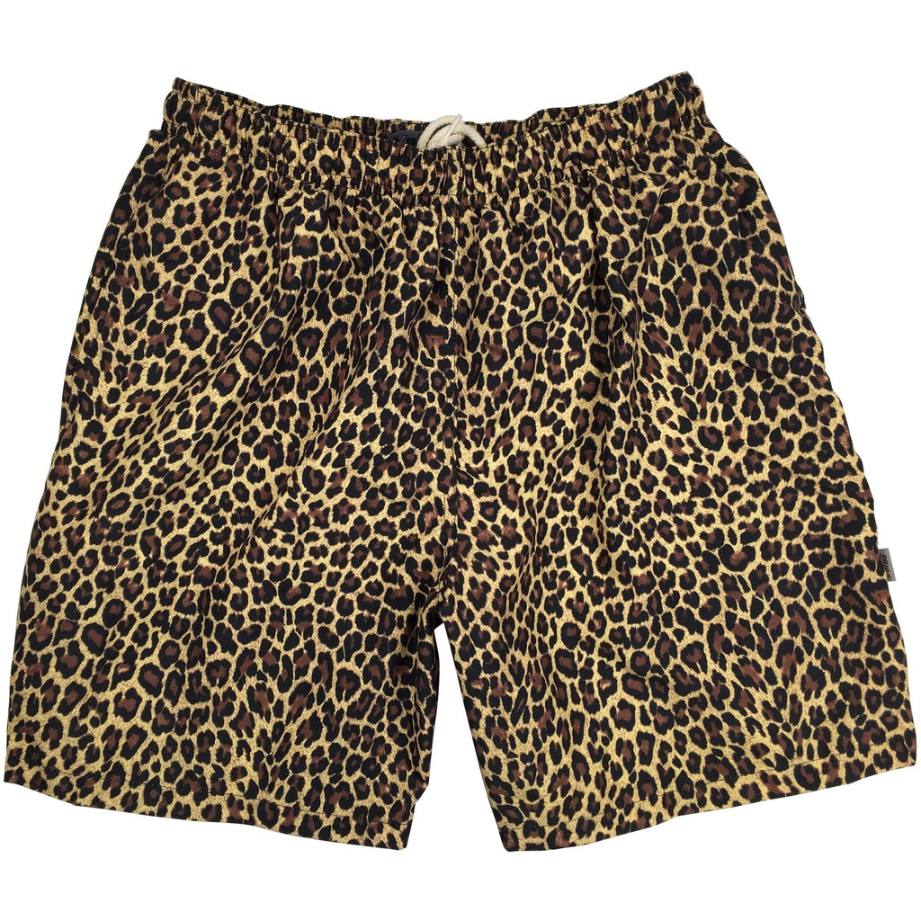 """Wild Weekend"" Animal Print Mens Swim Trunks (with mesh liner) - 22"" Outseam / 9.5"" Inseam (Brown)"
