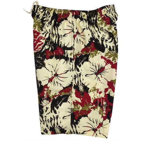 """Hiatus"" (Brown) Mens Elastic Waist Swim Trunks w/ on-seam Pockets (Select Custom Outseam 22"" - 27"") - Board Shorts World"