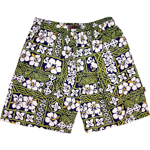 """Background Check"" Mens (6.5"" Inseam / 19"" Outseam) Swim Trunks (Blue) - Board Shorts World"