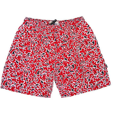"""Bullwinkle"" Mens (6.5"" Inseam / 19"" Outseam) Swim Trunks (Black+Red) **SALE** - Board Shorts World"