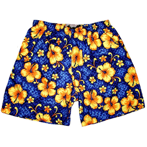 """Basketweave"" Mens (6.5"" Inseam / 19"" Outseam) Swim Trunks (Royal or Pink) - Board Shorts World - 1"