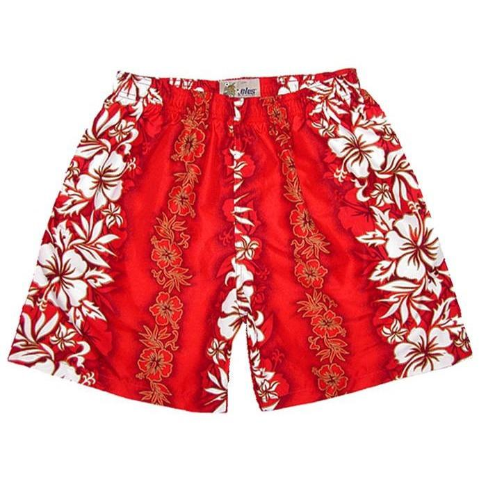 """Conga Line"" Mens (6.5"" Inseam / 19"" Outseam) Swim Trunks (Red) - Board Shorts World"