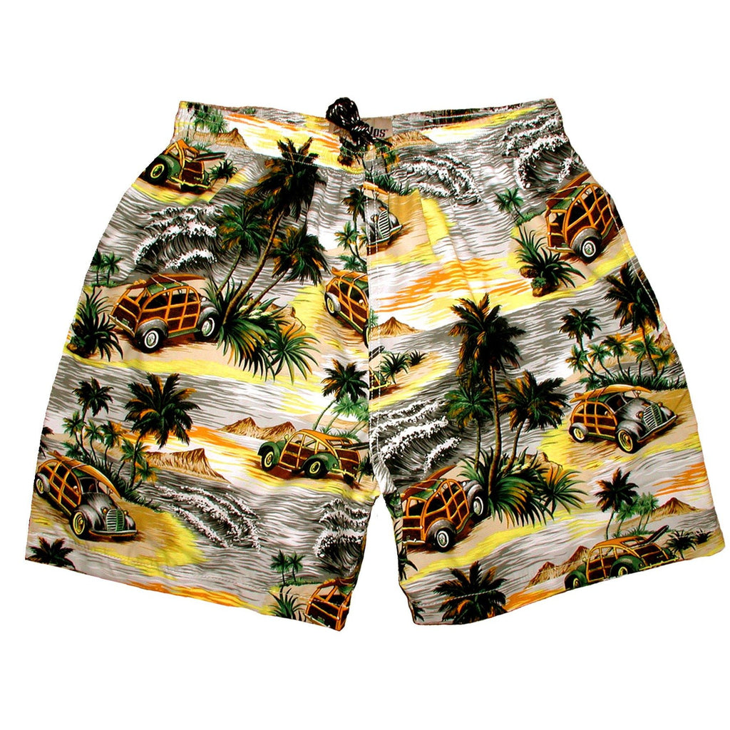 """Getaway Car"" Mens (6.5"" Inseam / 19"" Outseam) Swim Trunks (Charcoal or Sea Teal) - Board Shorts World - 1"