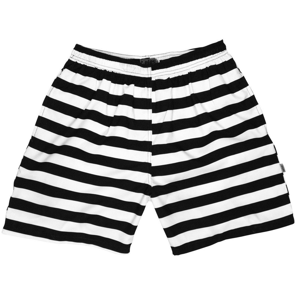 """Jail Bird"" Mens (6.5"" Inseam / 19"" Outseam) Swim Trunks (Black+White) - Board Shorts World"