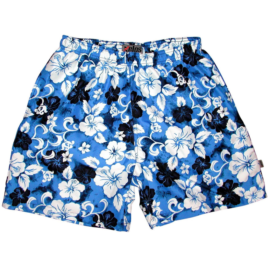 """Jungle Boogie"" Mens (6.5"" Inseam / 19"" Outseam) Swim Trunks (Blue) - Board Shorts World"