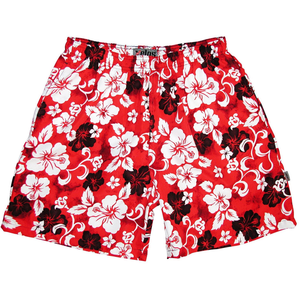 """Jungle Boogie"" Mens (6.5"" Inseam / 19"" Outseam) Swim Trunks (Red) - Board Shorts World"