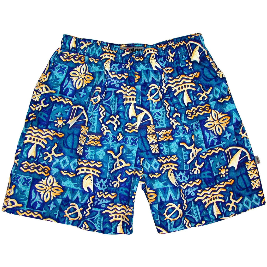 """Jungle Cruise"" Mens (6.5"" Inseam / 19"" Outseam) Swim Trunks (Blue) - Board Shorts World"