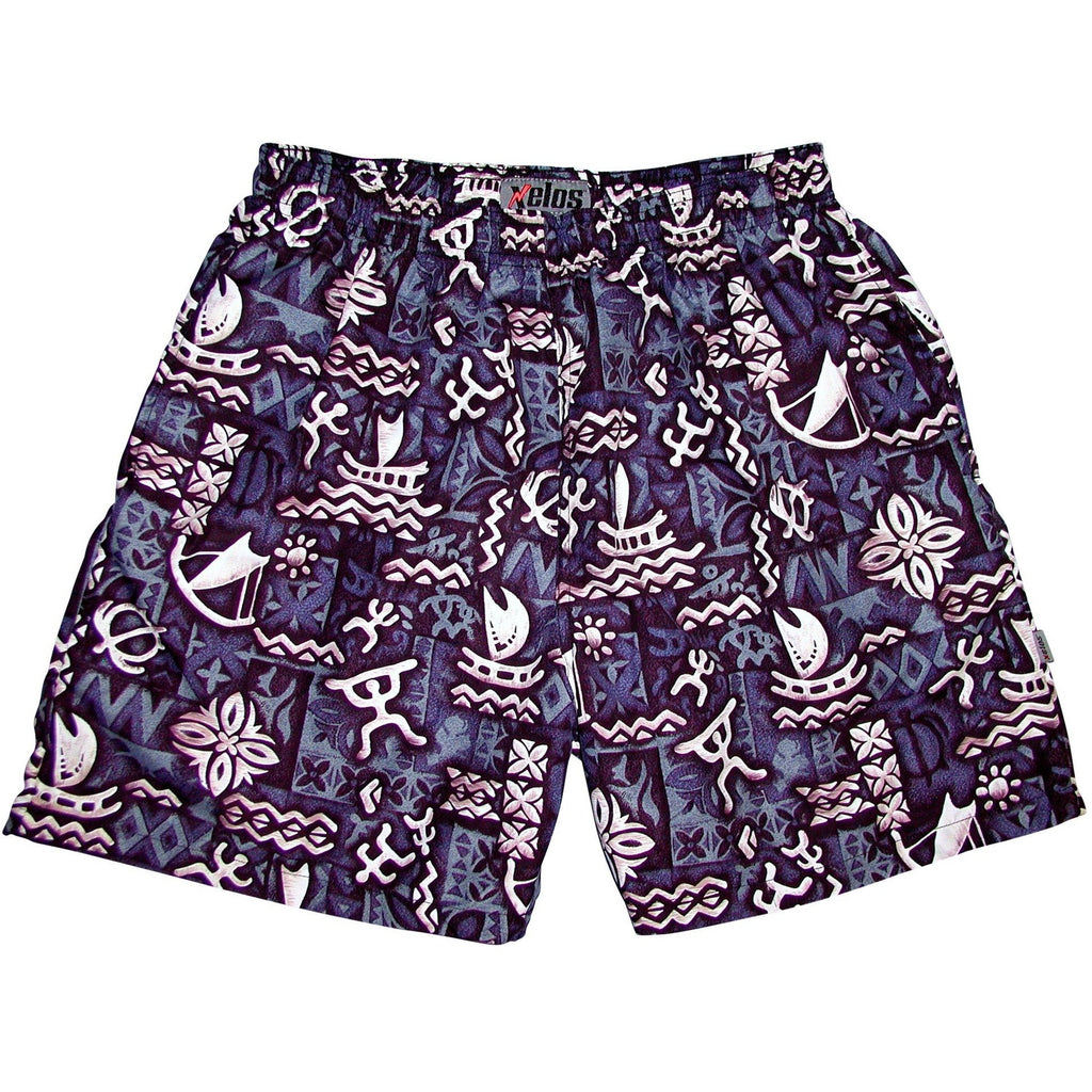 """Jungle Cruise"" Mens (6.5"" Inseam / 19"" Outseam) Swim Trunks (Charcoal) - Board Shorts World"