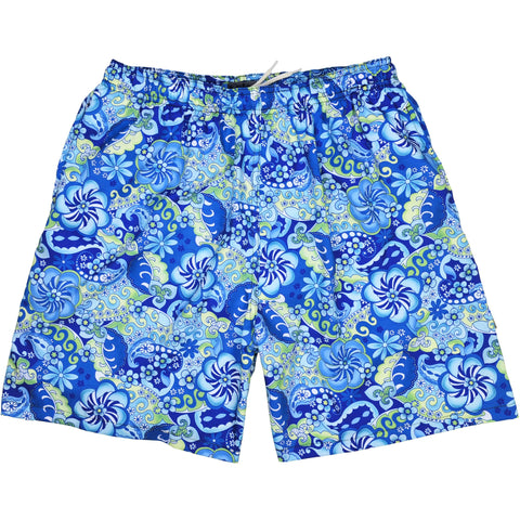 "Elastic Waist Swim Trunks with Mesh Liner ""Lucy in the Sky"" CUSTOM (Blue)"