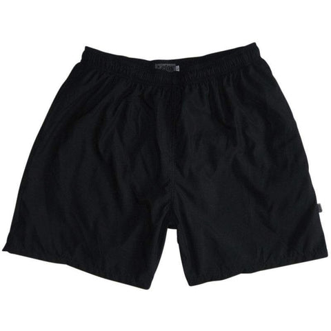 """A Solid Color"" Men's Swim Trunk (with mesh liner). 6.5"" Inseam / 19"" Outseam (Black)"