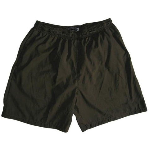 """A Solid Color"" Men's Swim Trunk (with mesh liner). 6.5"" Inseam / 19"" Outseam (Dark Olive) - Board Shorts World"