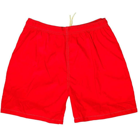 """A Solid Color"" Men's Swim Trunk (with mesh liner). 6.5"" Inseam / 19"" Outseam (Red) - Board Shorts World"