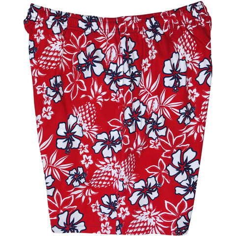 "**NEW** ""North Shore"" Mens (6.5"" Inseam / 19"" Outseam) Swim Trunks (Red)"