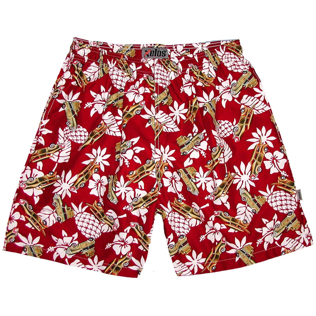 """One for the Road"" Woodie Cars Mens (6.5"" Inseam / 19"" Outseam) Swim Trunks (Red) - Board Shorts World"