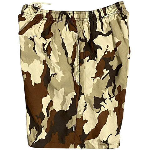 """Stealth Fanatic"" Camo Mens (6.5"" Inseam / 19"" Outseam) Swim Trunks (Sand+Brown)"