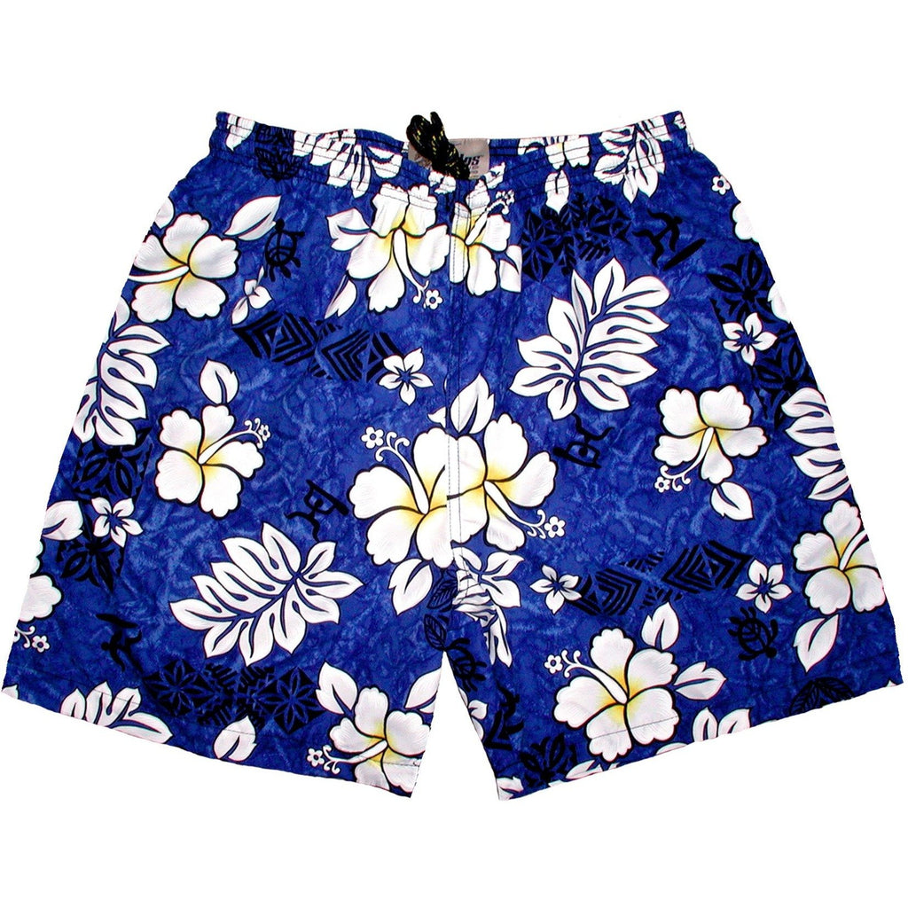 """Tribal Council"" ""Mens (6.5"" Inseam / 19"" Outseam) Swim Trunks (Blue) - Board Shorts World"