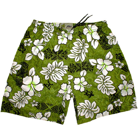 """Tribal Council"" ""Mens (6.5"" Inseam / 19"" Outseam) Swim Trunks (Olive) - Board Shorts World"