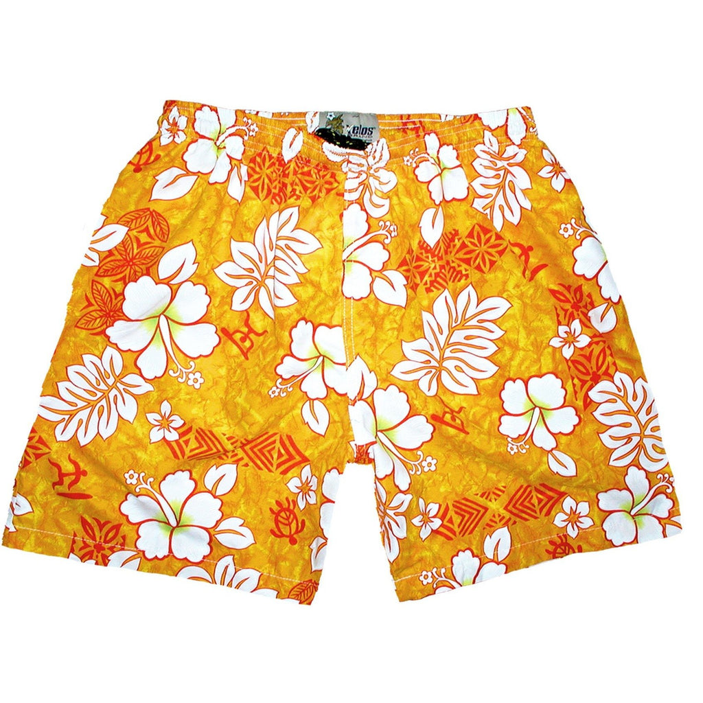 """Tribal Council"" ""Mens (6.5"" Inseam / 19"" Outseam) Swim Trunks (Orange) - Board Shorts World"