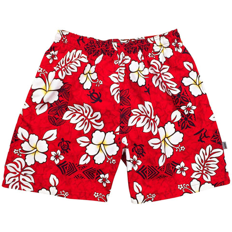 """Tribal Council"" ""Mens (6.5"" Inseam / 19"" Outseam) Swim Trunks (Red or Charcoal) - Board Shorts World - 1"