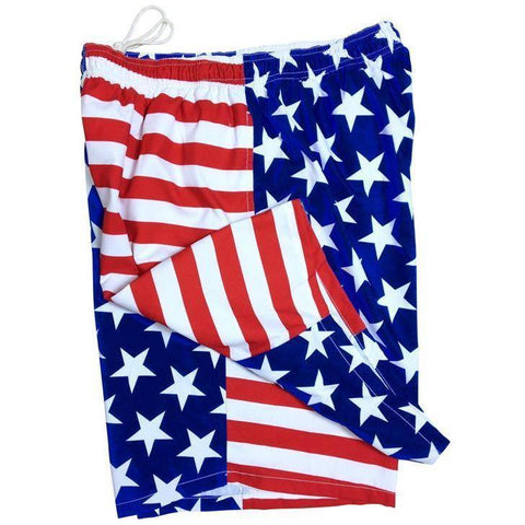 "**Fixed (Non Elastic) Waist Board Shorts ""Stars N Stripes"" Mens CUSTOM - Board Shorts World"