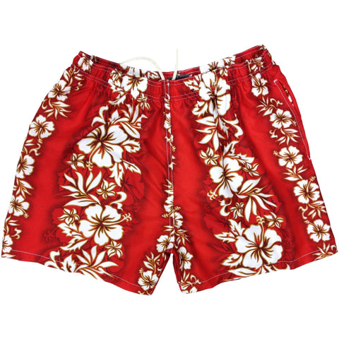 """Conga Line"" Mens Swim Trunks (with mesh liner) - 17"" Outseam / 4.5"" Inseam (Red)"