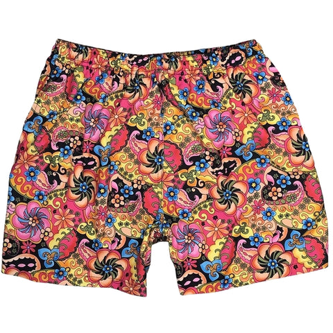 """Lucy in the Sky"" Mens Swim Trunks (with mesh liner) - 17"" Outseam / 4.5"" Inseam (Black)"