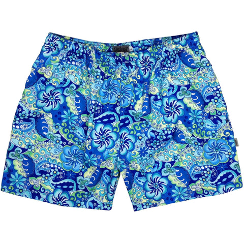 """Lucy in the Sky"" Mens Swim Trunks (with mesh liner) - 17"" Outseam / 4.5"" Inseam (Blue or Black) - Board Shorts World - 1"
