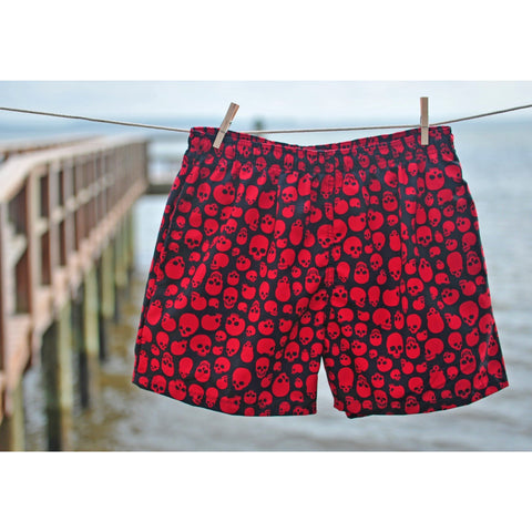 """Live to Ride"" Skulls Print Mens Swim Trunks (with mesh liner) - 17"" Outseam / 4.5"" Inseam (Black+Red, Black+White, or Black+Charcoal) - Board Shorts World - 1"