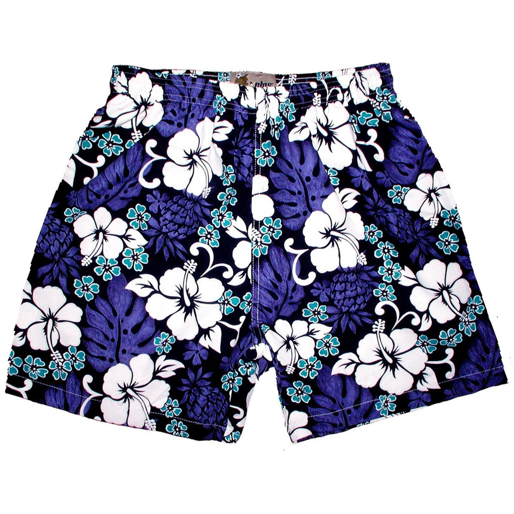 """Pina Colada"" Mens Swim Trunks (with mesh liner) - 17"" Outseam / 4.5"" Inseam (Indigo+Periwinkle, Green+Yellow, Blue+Yellow, Orange+Yellow) - Board Shorts World - 1"