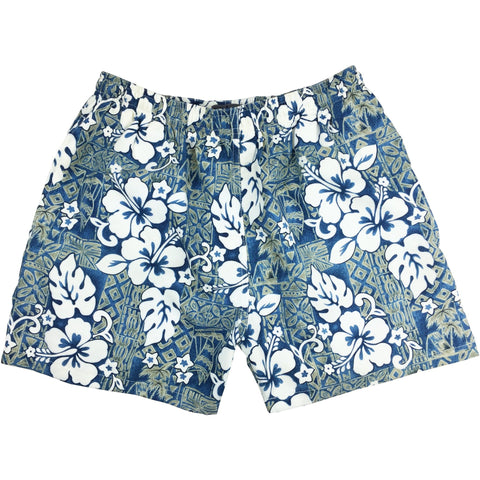 """Tiki Village"" Mens Swim Trunks (with mesh liner) - 17"" Outseam / 4.5"" Inseam (Sea Teal) **SALE**"