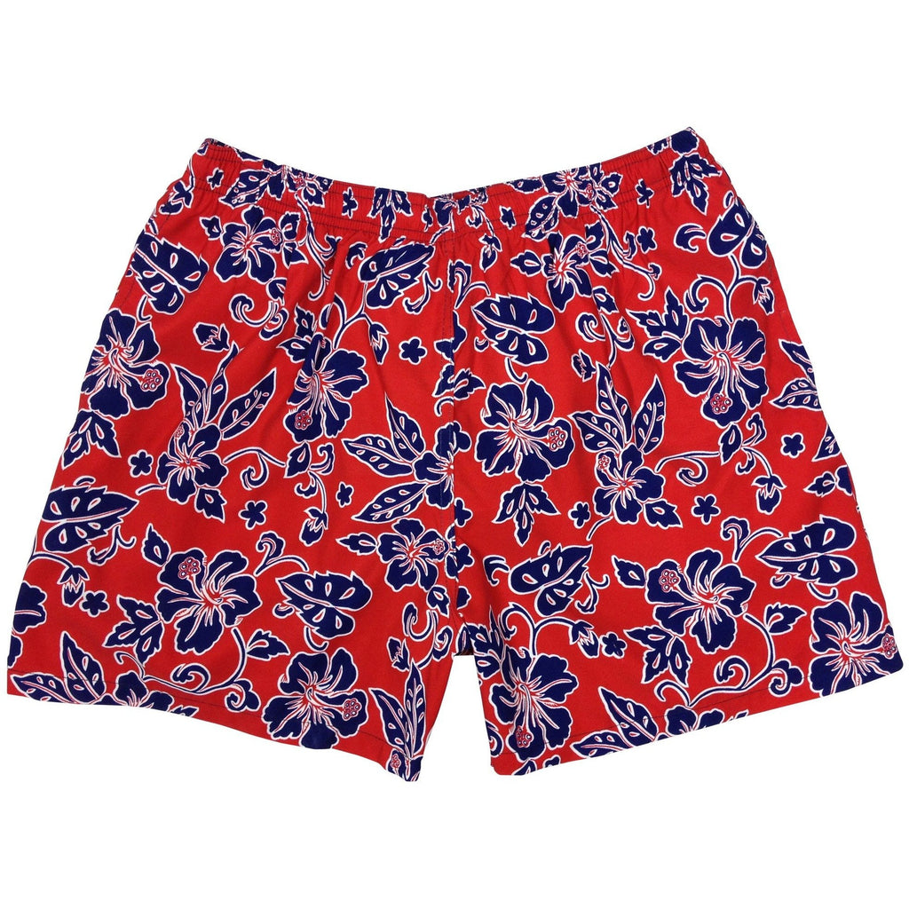 """Warming Trend"" Mens Swim Trunks (with Mesh Liner) - 17"" Outseam / 4.5"" Inseam (Red+Blue) - Board Shorts World"