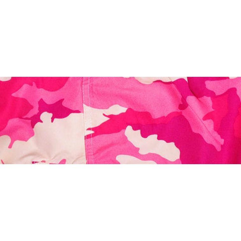 """Stealth Fanatic""  Womens Board (Swim) Camo Capris - NON Elastic Waist + Regular Rise + 23"" Inseam (Pink) - Board Shorts World"