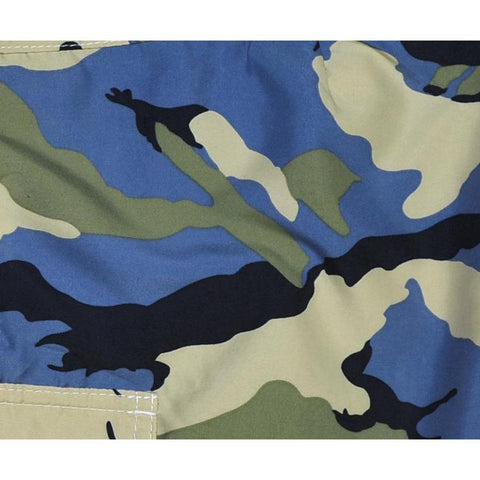 """Stealth Fanatic"" Camo Womens Elastic Waist Swim Board Shorts.  HIGH Rise + 11"" Inseam (Sand + Baby Blue) *SALE*"